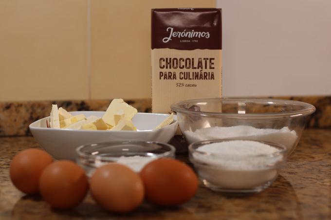 ingredientes do brownie de chocolate