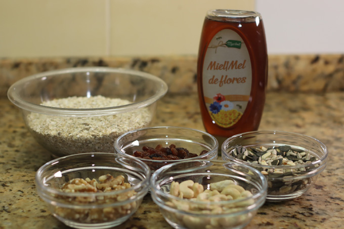 ingredientes para fazer granola